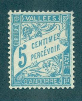 Andorra - French #D6  Mint  Scott $6.75   No Gum