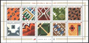 South Africa. 1999. Small sheet 1215-24. Traditional South African ornament. ...