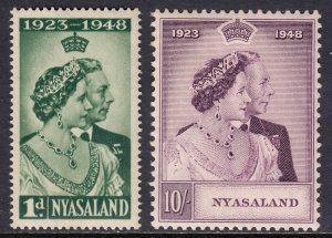 Nyasaland - Scott #85-86 - MH - Gum toning - SCV $19.25