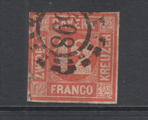 Bavaria Sc 7 used 1858 12kr red Numeral with 598 in Millwheel cancel, F-VF