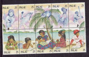 Palau-Sc#220- id2-Unused NH set-Literacy-1989-