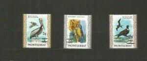 MONTSERRAT 1976 BIRDS SCOTT 337-9 MNH