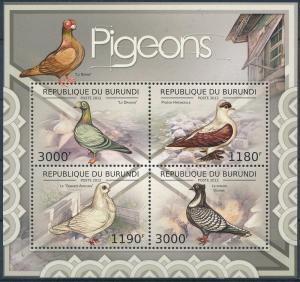 Burundi MNH S/S Pigeons 21012 4 Stamps