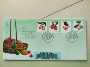 SINGAPORE 1986 UNADDRESSED REGISTERED FDC LOCAL FRUITS IN FINE USED..