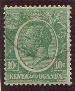 Kenya & Uganda - Scott 21 - KGV Definitive -1922 - Used- Single 10c Stamp