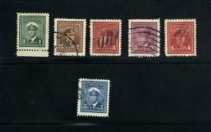 Canada #249, 250, 251, 252, 254, 255  used     PD