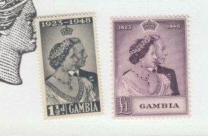 GAMBIA # 146-147 VF-MNH KGV1 SILVER WEDDING PO FRESH
