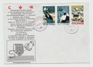 1970 ROMANIA COVER GERMANY RED CROSS FLOOD HELP SPECIAL ISSUE POST HISTORY