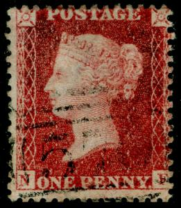 SG40, 1d rose-red PLATE 43, LC14, FINE USED. Cat £18. NF