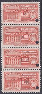 COLOMBIA 50c TIMBRE NATIONAL strip of 4 mint SPECIMEN.......................7923