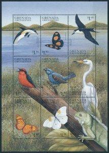 [108898] Grenada Grenadines 1999 Birds butterflies dolphin Mini sheet MNH