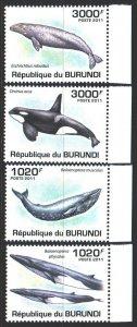 Burundi. 2011. 2038-41. Whales, fauna. MNH.