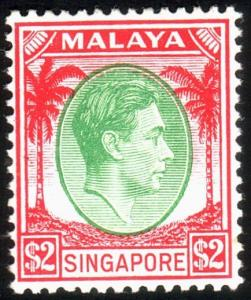 SINGAPORE 1948-52 GVI perf 14 $2 SG14 fine mint hinged.....................50389