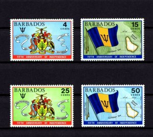 BARBADOS - 1971 - INDEPENDENCE - 5th ANNIVERSARY - ARMS - FLAG + MINT MNH SET!