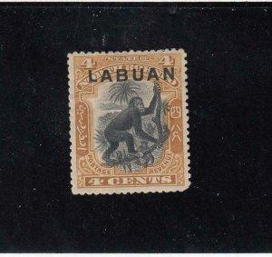 LABUAN (MK4397)  # 96  VF-MH  4cts  ORANGUTAN /YELLOW BROWN CAT VALUE $10