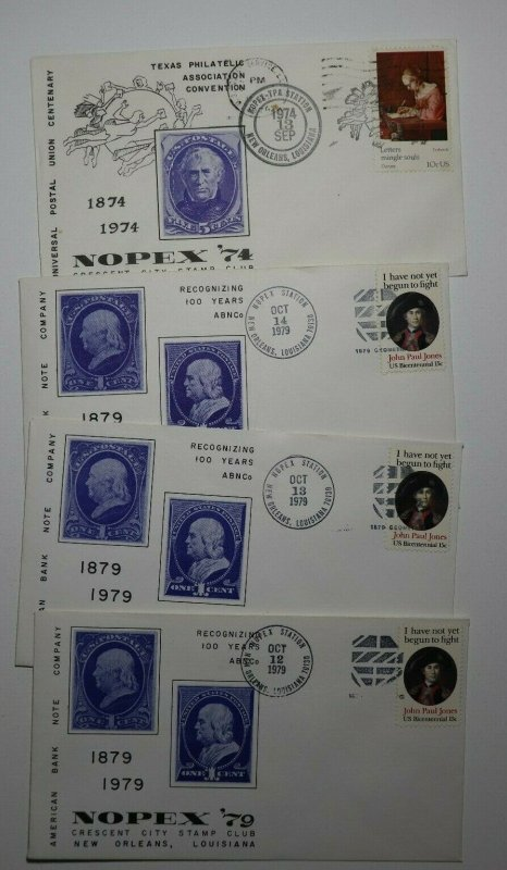 NOPEX Cresent City Stamp Club NOLA 1979 & 1974 Philatelic Expo Cachet Cover