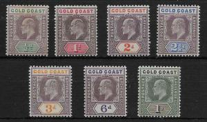 GOLD COAST SG38/44 1902 DEFINITIVE SET TO 1/= MTD MINT