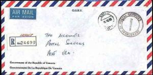 NEW HEBRIDES VANUATU 1992 Official registered cover NORSUP to Port Vila....33633