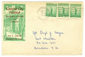 Scott 899 Denver CO to Fort Shafter Honolulu Hawaii Territory Cover June 17 1941