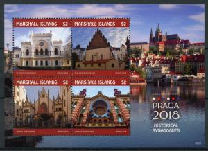 Marshall Islands Architecture Stamps 2018 MNH Praga Historical Synagogues 4v M/S