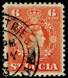 ST. LUCIA SG151, 6c orange, FINE USED.
