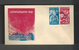1948 Ludwigshafen Germany Rheinland Pfalz First Day Cover French Zone # 6NB1 & 2