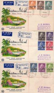CHRISTMAS ISLAND 1958 Sc#1/10 Queen Elizabeth Set (10) REGISTERED FDC (3) RARE !