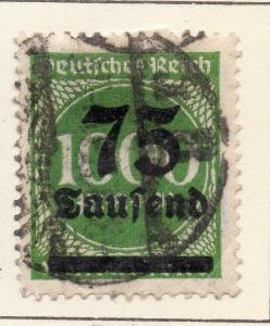 Germany 1923 Early Issue Fine Used 75T. Surcharged 120373
