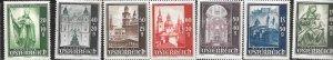 Austria #B252,B254-B259    1s slate (MNH)  CV $15.25