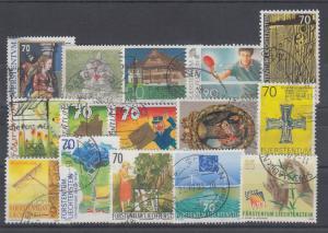 Liechtenstein Sc 1029/1279 used 1998-2004 issues, 15 different, F-VF