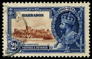 BARBADOS SG243, Silver Jubilee 2½d brown & deep blue, FINE USED.