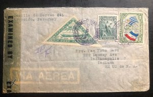 1941 Asuncion Paraguay Censored airmail Cover to Indianapolis USA Zeppelin Stamp