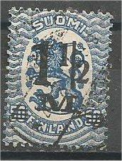 FINLAND, 1921, used 11/2m on 50p blue, Surcharged, Scott 126