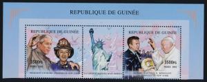 Guinea MI 3545A-B Strip MNH Pope John Paul II, President Bush, Firefighter