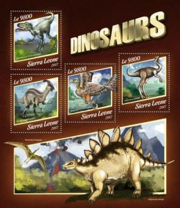 SIERRA LEONE - 2017 - Dinosaurs - Perf 4v Sheet - MNH
