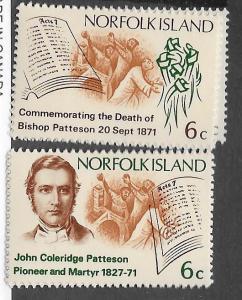 Norfolk Islands #144-145  Bishop Patterson  (MNH)  CV$0.50