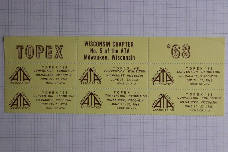 ATA TOPEX 68 1968 expo Milwaukee WI chapter sheet block Philatelic Stamp club DM