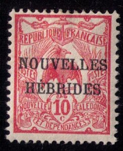 New Hebrides Sc FR 2 Mint Hinged French Nouvelles Hebrides Overprint F-VF