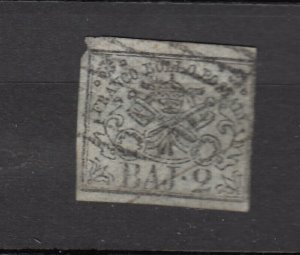 J26477 1852 italy roman states used #3a papal arms