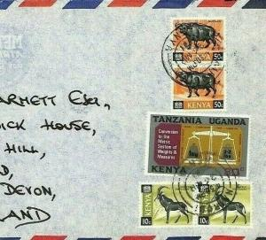 CE189 KENYA Wild Animals 1971 KUT METRIC Stamp MIXED FRANKING Air Mail Cover