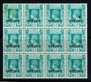BURMA KG VI 1939 OFFICIALS 1½ As Turquoise BLOCK OF TWELVE Op SERVICE SG O19 MNH