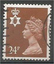 GREAT BRITAIN, N IRELAND Machins, 1993, used 24p brown, Scott NIMH45