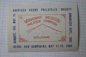 1939 Monadnock MT Region Philatelic Expo Keene New Hampshire Event Label Ad