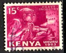 Kenya; 1963: Sc. # 3: O/Used Single Stamp