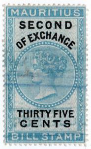 (I.B) Mauritius Revenue : Bill of Exchange 35c (Second)