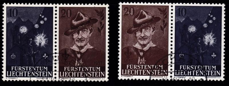 Liechtenstein 1956 Scouts Lord Baden-Powell  Both Pair Forms from Sheet VF/(o)