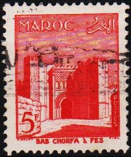 Morocco(French). 1955 5f S.G.452 Fine Used