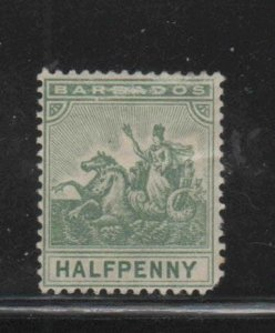 BARBADOS #71  1892  1/2p   BADGE OF THE COLONY  MINT  F-VF  HR  O.G  bb