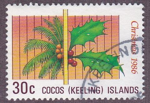 Cocos Islands # 155, Coconut Palm & Holly, used