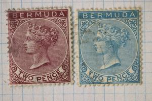 Bermuda sc#20 21 used two pence 2p light cancels